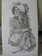 "Vintage Pencil Drawing Print of An Old Woman by Thomas Voorhis 8"" x 13"" Unframed"