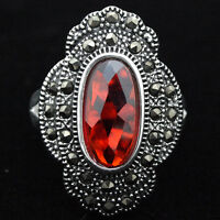 NATURAL RUBY GEMSTONE SOLID .925 STERLING SILVER RING SZ 7/8/9/10 STAMPED 925