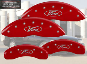 "2003-2010 ""Ford"" Crown Victoria Front + Rear Red MGP Brake Disc Caliper Covers"