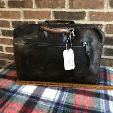 RARE HANDMADE VINTAGE 1980s RUSTIC LEATHER MACBOOK PRO CASE BRIEFCASE BAG R$498