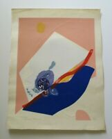 VINTAGE  RIKIO TAKAHASHI WOODBLOCK PRINT PENCIL SIGNED 1970 RARE ABSTRACT MOD