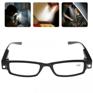 Black Framed LED Reading Glasses Presbyopic Adults Glasses with LED Light Power△
