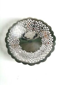 ANTIQUE GERMAN SILVER PLATED T.H. ALPACCA SMALL BOWL FILAGREE FRETWORK PIERCED