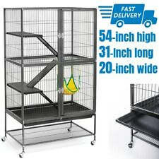 Large Rolling Cage For Small Animals Pet Feisty Ferret Rats Rabbits Enclosure
