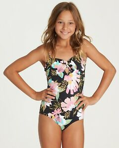 Billabong Girls' Night Bloom Swimsuit $60 Black Size 8 ZP-4548