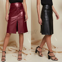 Women Ladies Wet Look Faux Leather Pencil Bodycon Slit Plus Size Mini Skirt 8-26