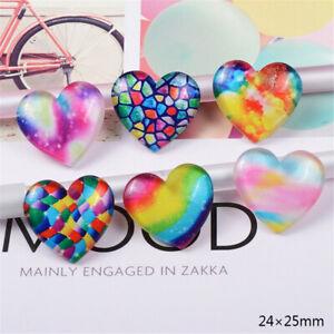 10PCS Gradient Mosaic Resin Love Heart Cabochon Flatback Art Decor Charm 24*25mm