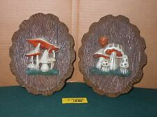 Pair of Vintage Mushrooom Wall Hanging Plaque Retro Plastic Resin Foam