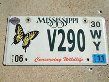 2011 MISSISSIPPI Conserving Wildlife Butterfly License Plate V290 WY MS