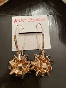 NEW BETSEY JOHNSON GOLD TONE CHRISTMAS BOW,MULTI COLOR RHINESTONE EARRINGS