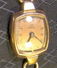Pretty Ladies OMEGA 12 K Gold Filled Vintage Windup Watch Works but Needs Parts