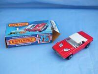 Vintage 1975 Matchbox Superfast 1 Dodge Challenger Red White Interior Toy Boxed