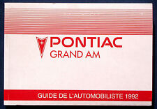 Owner's Manual * Manuel 1992 pontiac grand Am (F)