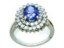 Tanzanite Cluster Round Fine Gemstone Rings