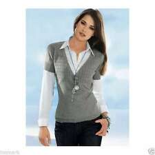 Waist Length Cotton V Neck Jumpers & Cardigans for Women