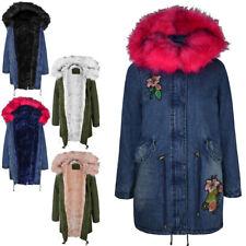 Womens Ladies Winter Coat Denim Floral Long Length Faux Fur Hooded Parka Jacket