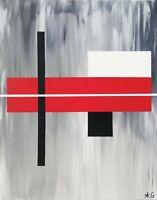 Tableau abstrait géométrique 40 x 50 cm . Œuvre originale de Audrey Granjeaud.