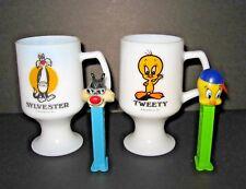 LOT 4= 1975 Tweety and Sylvester PEDESTAL milk glass mugs Great America + PEZs