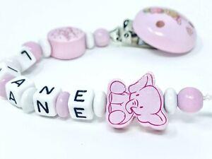 ★ Schnullerkette mit Namen ★ Mädchen ★ Elefant ★ rosa ★ weiß ★ Personalisiert ★