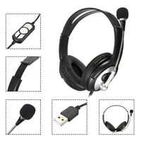 Headband Headphone Wired USB Surround Super Bass Stereo Game Headset Microphone