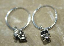 SKULLS Sterling Silver tiny hoop sleepers SKULL 925 Hoops Earrings Pirate Biker
