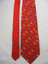 HOLIDAYS - Mens Red Christmas Ornaments Motif Neck Tie NWT