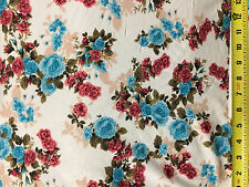 Rayon Stretch Jersey Knit Fabric Beautiful Floral Cream/Teal Multi color  9oz
