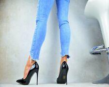 NEU Designer Super Sexy Luxus LACK Damenschuhe Elegant Pumps High Heels Schwarz