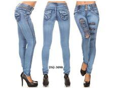 Diva star colombian 3098 med blue rip levantacola 10'' high waist skinny jean