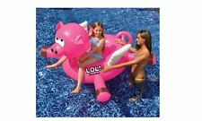 Swimline Giant 54 Inch Pig Inflatable Kids Outdoor Ride Swimming Float Pool Toy