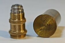 Antique Brass Leitz No. 8 Microscope Objective with Correction Collar