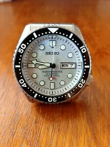 SEIKO DIVER MOD MOTHER OF PEARL WHITE MARINE MASTER 300M 7S26-0020 SKX007 WATCH