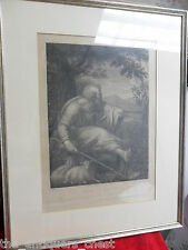 Engraving by G.Goldmann depicting Moses in the sheep pasture & the burning bush
