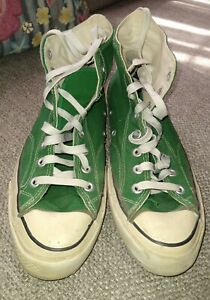 Rare Converse Chuck Taylor Star Green High Top Original USA Rectangle Black Tag