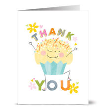 24 Thank You Note Cards - Thank You Cupcake - Yellow Envs