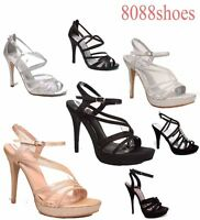 Women's Bridal Glitter Strappy Open Toe Dress High Heel Platform Shoes 5 - 10