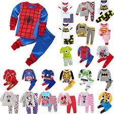 Kinder Jungen Mädchen Superheld Pyjamas Set Sleepwear Nachtwäsche Schlafanzug