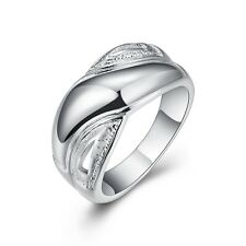 Women's Fashion Silver Plated Wedding Rings Jewelry Charm Gift New Size 8