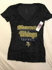 BRAND NEW Ladies/Juniors Minnesota Vikings Black V-Neck Tee~Medium 7-9~NWT