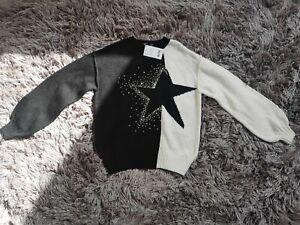 Next UK XS Black & White Star Print Jumper BNWT NEW