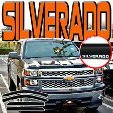 14-18 Silverado Crew Cab Side Window Deflector Door Visors with Logo Vent Shades