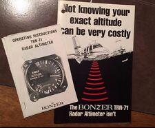 Bonzer TRN-71 Radar Altimeter Pilot's Operating Booklet and Original Brochure