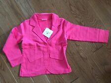 NEW NWT Hanna Andersson Girls Turquoise Pink Cotton Button Blazer Jacket 120