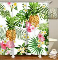 Nice Pineapple Floral Tropical Leaves Fabric Shower Curtain Pretty Coastal