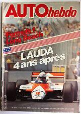 AUTO HEBDO 312 du 8/04/1982; Formule 1 Long Beach/ Lauda 4 ans aprés