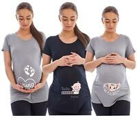 Women Maternity Ruched Top ShortSleeve Baby Loading Coming Soon See you Soon Tee