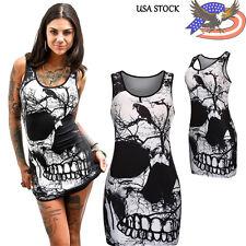 Women's Sleeveless Skull Printed Summer Vintage Vest Dress Loose Casual Dress US