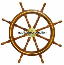 """Ship Wheel 36"""" Wooden Nautical Decor Wall Steering Brass Pirate Boat Handcrafted"""