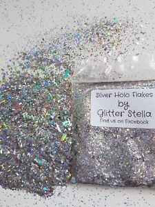 Nail Art Glitter ( Silver Holo Flakes ) Holographic Festival Sparkles