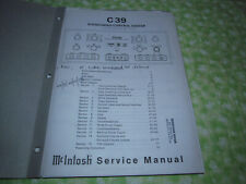 McIntosh C 39 Factory Service Manual  (Paper READ LISTING!)
